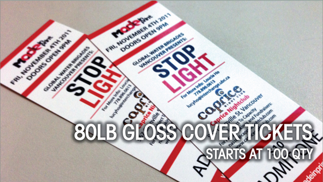80lb Gloss Cover Tickets